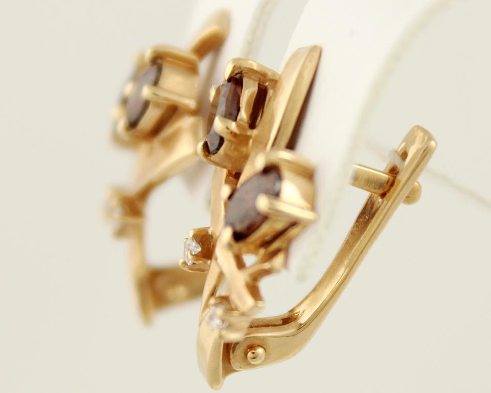 03bfa8af34b6 Золотые серьги 585 проба. Женские Серьги фианит Букет Тюльпанов, с красного  золота.