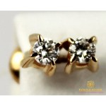 Золотые Серьги 585 проба. Женские серьги с красного золота, Бриллиант Пуссеты 22015 , Gold &amp Silver Gold & Silver, Украина