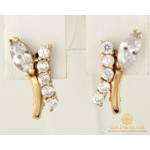 Золотые Серьги 585 проба. Женские серьги с красного золота, Букет Фианит 3,12 грамма 20321 , Gold & Silver Gold & Silver, Украина