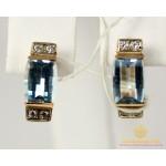 Золотые Серьги 585 проба. Женские серьги с красного золота, с вставкой Топаз 5,56 грамма 5539720 , Gold & Silver Gold & Silver, Украина