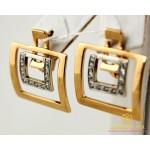 Золотые серьги 585 проба. Женские Серьги прямоугольные с красного и белого золота. 5,64 грамма 430076 , Gold & Silver Gold & Silver, Украина