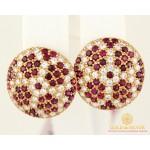 Золотые Серьги 585 проба. Женские серьги с красного золота, с вставкой Рубин cv12203i , Gold & Silver Gold & Silver, Украина