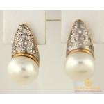 Золотые Серьги 585 проба. Женские серьги с красного золота, с вставкой белый Жемчуг cv2312 , Gold & Silver Gold & Silver, Украина