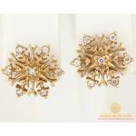 Золотые Серьги 585 проба. Женские серьги с красного золота, Пуссеты Снежинка 23251 , Gold & Silver Gold & Silver, Украина