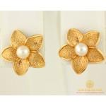 Золотые Серьги 585 проба. Женские серьги с красного золота, Пуссеты Цветок Жемчуг cp038i , Gold & Silver Gold & Silver, Украина