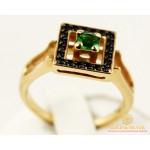 Золотое кольцо 585 проба. Женское Кольцо с красного золота, с вставкой зеленого и черных камней. 4,96 грамма. kv892107i , Gold & Silver Gold & Silver, Украина