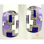 Серебряные Серьги 925 проба. Женские серебряные серьги с вставкой Сиреневая Эмаль 2493e , Gold & Silver Gold & Silver, Украина