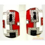 Серебряные Серьги 925 проба. Женские серебряные серьги с красной эмалью 2493ek , Gold & Silver Gold & Silver, Украина