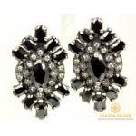 Серебряные Серьги 925 проба. Женские серьги с вставкой черный Фианит 20030с , Gold & Silver Gold & Silver, Украина
