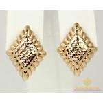 Золотые Серьги 585 проба. Женские серьги с красного золота, Без Вставок Ромб 470338 , Gold & Silver Gold & Silver, Украина