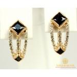 Золотые серьги 585 проба. Женские Серьги Фианит с красного золота. 420956 , Gold &amp Silver Gold & Silver, Украина