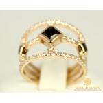 Золотое Кольцо 585 проба. Женское кольцо с красного золота, с фианитом 3,47 грамма 380097 , Gold & Silver Gold & Silver, Украина