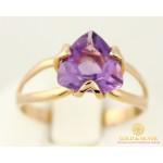 Золотое Кольцо 585 проба. Женское кольцо с красного золота, с вставкой Аметист триллион 11723 , Gold & Silver Gold & Silver, Украина