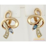 Золотые Серьги 585 проба. Женские серьги с красного золота, с голубым камнем 4,42 грамма св3673 , Gold & Silver Gold & Silver, Украина