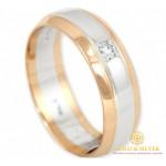Золотое кольцо 585 проба. Классическое обручальное кольцо с красного и белого золота с бриллиантом. 12730 , Gold & Silver Gold & Silver, Украина