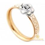 Золотое Кольцо 585 проба. Женское кольцо 585 проба Красное и белое золото Бриллиант, белая эмаль 16160 , Gold & Silver Gold & Silver, Украина