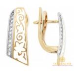 Золотые серьги 585 проба. Женские Серьги с красного и белого золота, с вставками бриллианта и белой эмалью. 25920 , Gold &amp Silver Gold & Silver, Украина