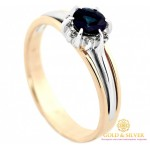 Золотое кольцо с Сапфиром и Бриллиантом 585 проба. Женское кольцо красное и белое золото. 13291 , Gold & Silver Gold & Silver, Украина