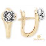 Золотые серьги с бриллиантами 585 проба. Женские серьги Цветок красное и белое золото. 26460 , Gold & Silver Gold & Silver, Украина