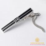 Серебряный зажим для галстука 925 проба. Мужской зажим серебряный черная эмаль. 8341е , Gold & Silver Gold & Silver, Украина