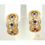 Золотые Серьги 585 проба. Женские серьги с красного золота, с вставкой синие камни cv025.02i , Gold & Silver Gold & Silver, Украина