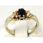 Золотое Кольцо 585 проба. Кольцо женское с красного и белого золота с вставкой Сапфир и Бриллиант. 10010 , Gold & Silver Gold & Silver, Украина