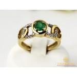 Золотое кольцо 585 проба. Кольцо женское Мирель желтое золота и белое золото с вставкой Изумруд 11232 , Gold &amp Silver Gold & Silver, Украина