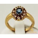 Золотое кольцо 585 проба. Женское Кольцо с красного золота, с вставкой синий камень. kv9821i , Gold &amp Silver Gold & Silver, Украина