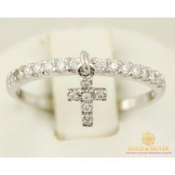 Золотое кольцо 585 проба. Кольцо белое золото с крестиком. 1,16 грамма. кв933.1и