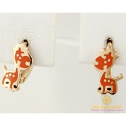 Золотые серьги 585 проба. Детские серьги с красного золота, Жираф, с вставкой ювелирной эмали. 400206е