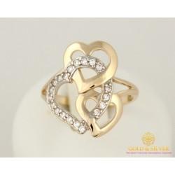 Золотое кольцо 585 проба. Женское Кольцо Сердце с красного и белого золота, 2,92 грамма. 10195
