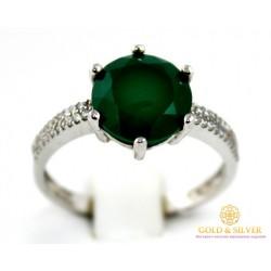 Серебряное кольцо 925 проба. Женское серебряное Кольцо Стефани с вставкой Зеленый Агат 20989p