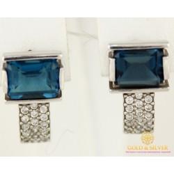 Серебряные Серьги 925 проба. Женские серебряные серьги Фрезия с вставкой Лондон Топаз 20809p
