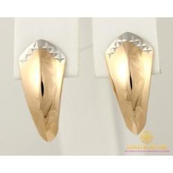 Золотые Серьги 585 проба. Женские серьги с Красного золота алмазная грань 470376