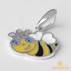 Серебряный подвес 925 проба. Детский кулон Пчелка с эмалью. 3605e