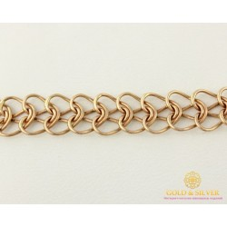 Золотой Браслет 585 проба. Браслет с красного золота, Плетение Питон bc029