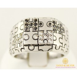 Серебряное кольцо 925 проба. Мужское кольцо Пазл. 10119