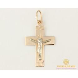 Золотой Крест 585 проба. Крест красное и белое золото. 230104
