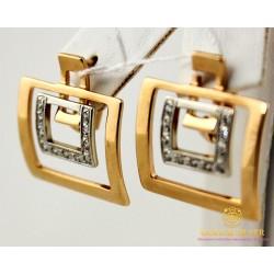 Золотые серьги 585 проба. Женские Серьги прямоугольные с красного и белого золота. 5,64 грамма 430076