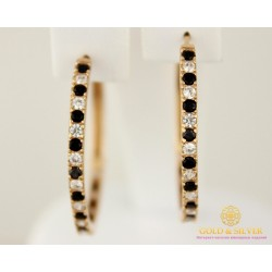 Золотые Серьги 585 проба. Женские серьги с красного золота, Конго россыпь черных и белых камней 21014702