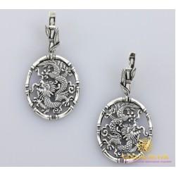 Серебряные Серьги 925 проба. Женские серебряные серьги Дракон, без камней. 2233