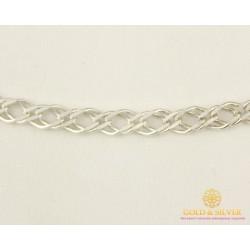 Серебряная Цепь Р925 проба. Цепочка серебряная плетение Ромб, 65 сантиметров 5270p