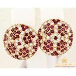 Золотые Серьги 585 проба. Женские серьги с красного золота, с вставкой Рубин cv12203i