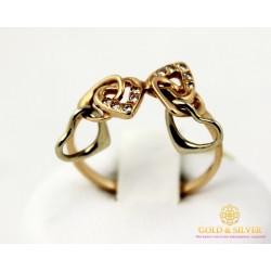 Золотое кольцо 585 проба. Женское Кольцо Сердце с красного золота. 330300