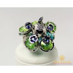 Серебряное кольцо 925 проба. Женское Кольцо Диско цветные камни. 360653c