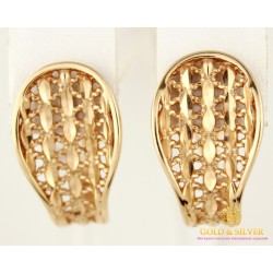 Золотые Серьги 585 проба. Женские серьги с красного золота, без вставок 400154