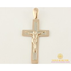 Золотой Крест красное и белое золото прямоугольный 210045