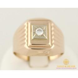 Золотое кольцо 585 проба. Мужской перстень с красного золота. 2,82 грамма. 390066