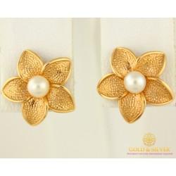 Золотые Серьги 585 проба. Женские серьги с красного золота, Пуссеты Цветок Жемчуг cp038i