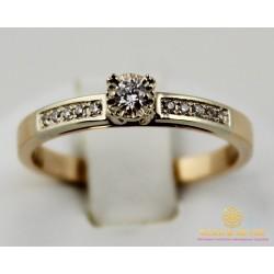 Золотое кольцо 585 проба. Женское Кольцо с белого и красного золота с вставкой Бриллиант. 15240